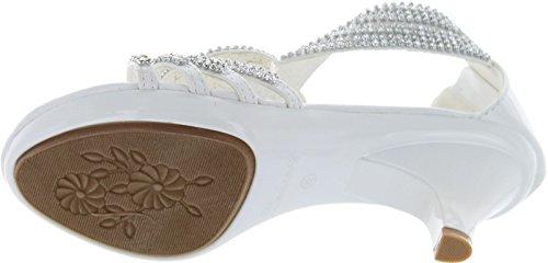 cb5b6c5a6735 Delicacy Womens Angel-37 Strappy Rhinestone Dress Sandal Low Heel Shoes