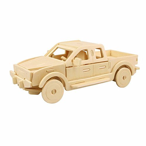 3D Wooden Puzzle Building Kit Pickup Truck Car Model Wood Best Gift for Kids 23-pcs (Pickup Truck)