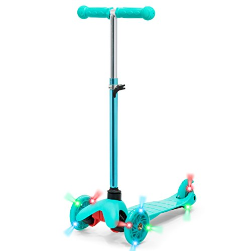 Best Choice Products Kids Mini Kick Scooter w/ Light-Up Wheels and Height Adjustable T-Bar - Mint Blue (Scooter Wizard Lights)