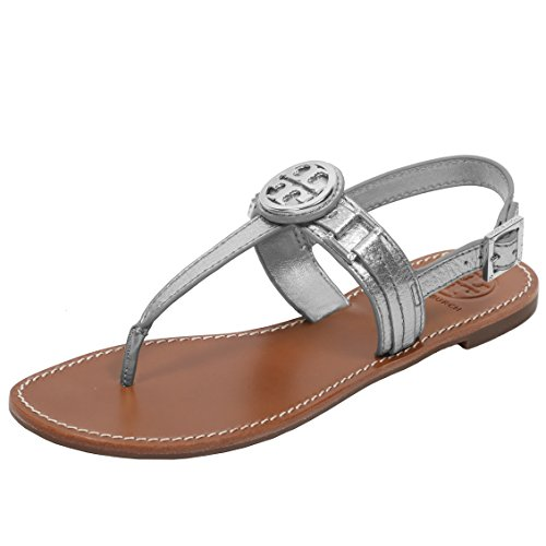 Tory Burch Cassia Flat Thong Sandal French Calf Leather (8, - Tory Burch Silver