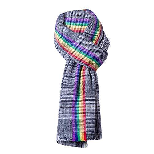 HULKAY Classic Cashmere Feel Rainbow Shawl Jacquard Plaid Scarf(Black)