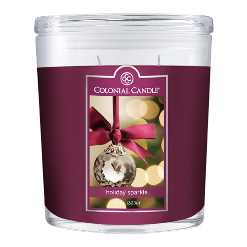 Colonial Candle 22-Ounce Scented Oval Jar Candle, Holiday Sparkle (Jar 22 Ounce Holiday)
