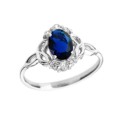 Elegant 10k White Gold Diamond Trinity Knot Proposal Ring with Genuine Sapphire (Size 7)
