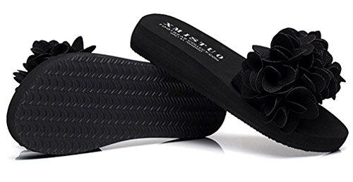 Womens Slippers Outdoor Beach Indoor Summer Cattior Sandals Black Flower Slide BxwqfF