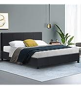 Artiss Queen Bed Frame Fabric Upholstered Platform Bed Frame, Charcoal