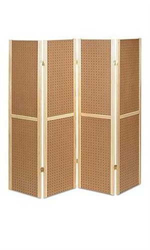 New Retail Natural Finish Wood Framed 4 Panel Pegboard Displays 5' x - Framed Tiny