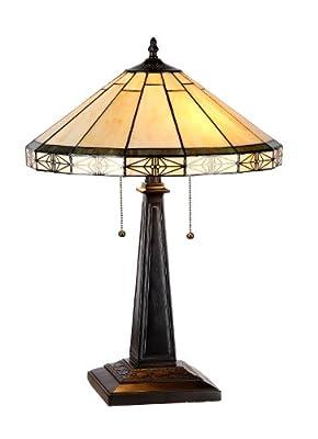 "Chloe Lighting CH31315MI16-TL2 ""Belle"" Tiffany-Style Mission 2 Light Table Lamp 16"" Shade"