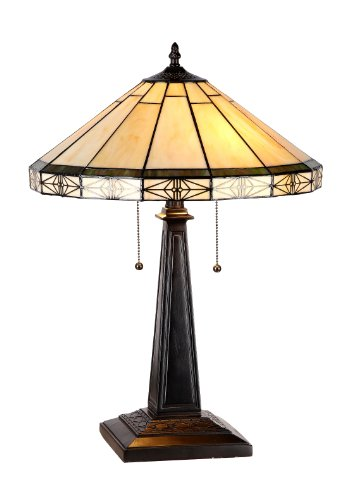 Lamp Leaded Glass - Chloe Lighting CH31315MI16-TL2 Belle Tiffany-Style Mission 2 Light Table Lamp with Shade, 22.6 x 15.9 x 15.9
