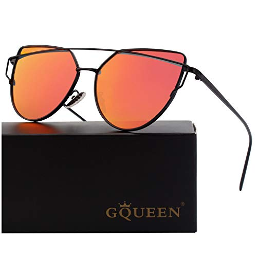 GQUEEN Cat Eye Mirrored Flat Lens Street Fashion Metal Frame Polarized Sunglasses for Women,Black Purple
