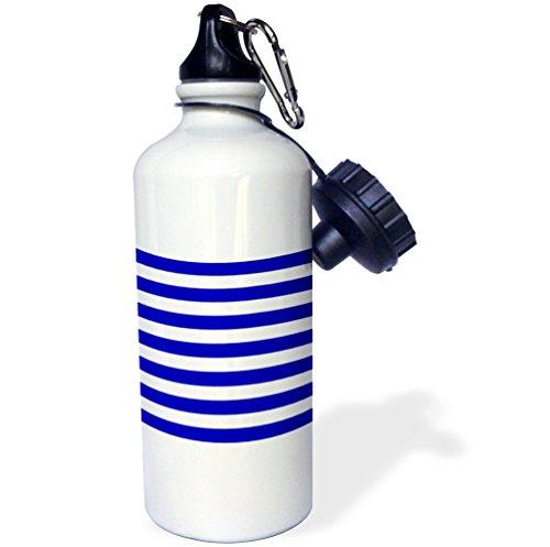3dRose wb_56664_1 French Nautical Style Navy Blue & White Sailor Stripes Aka Breton Stripe Pattern Sports Water Bottle, 21 oz, Brown