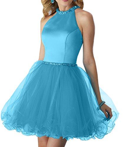 mia Partykleider Blau Kurz La Kleider Tuell Formalkleider Mini Ballkleider Brau Jugendweihe Neckholder 2 Abendkleider d6760Pqw