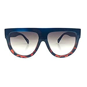 Flat Top Square Aviator Gradient Oversized Frame Women Shadow Sunglasses (Blue Tortoise)