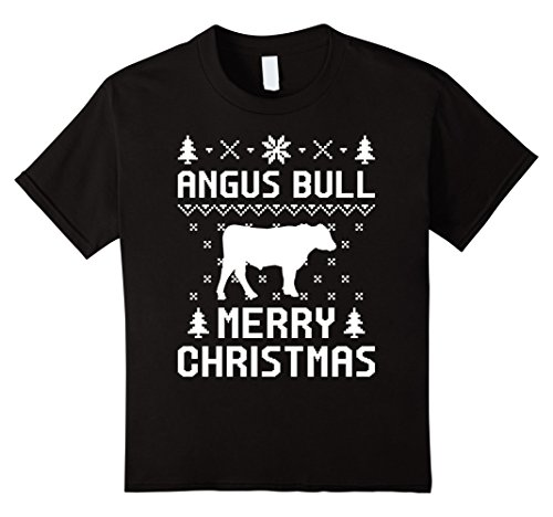 Angus Young Costume Women (Kids Angus Bull Ugly Christmas Sweater T-shirt 10 Black)