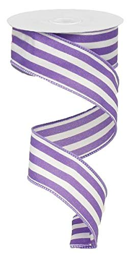 Vertical Stripe Wired Edge Ribbon - 10 Yards (Purple, 1.5
