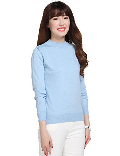 Wool Powder Blue (Xiouli Women's Slim Classic Turtleneck Long Sleeve Pullover Wool Sweaters 678081£¨XL,Blue£)
