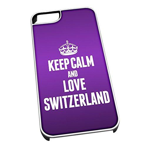 Bianco cover per iPhone 5/5S 2289viola Keep Calm and Love Switzerland