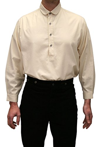 Historical Emporium Men's Edwardian Round Club Collar Dress Shirt XL Natural by Historical Emporium