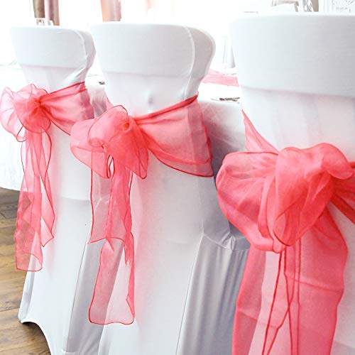 BIT.FLY 25 Pcs Organza Chair Sashes for Wedding Banquet Party Decoration Chair Bows Ties Chair Cover Bands Event Supplies - Red ()
