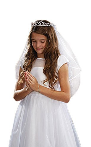 Girls First Communion White Satin and Tulle Veil with Faux Pearl Tiara, 26 Inch -