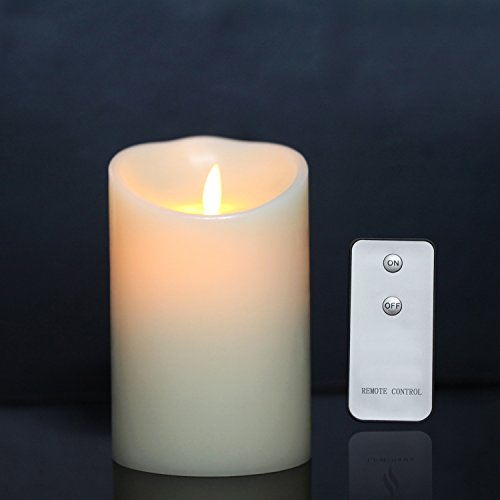 Wax Flickering Flameless Candles with Remote Timer & Moving Wick by LIANDER HOME