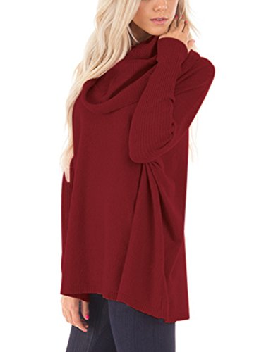 Dokotoo Womens Pullover Regular Elgant Casual Loose Amazon Long Sleeve Cowl Neck Chunky Knit Pullover Sweaters Blouse Tops Wine Large by Dokotoo (Image #1)
