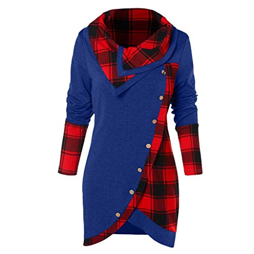 TUSANG Blouse Women Long Sleeve Warm Plaid Turtleneck Tartan Tunic Sweatshirt Pullover Tops(Blue,3XL)