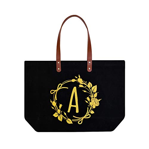 ElegantPark A Initial Monogram Personalized Party Gift Tote Black Large Shoulder Bag with Interior Zip Pocket Canvas -