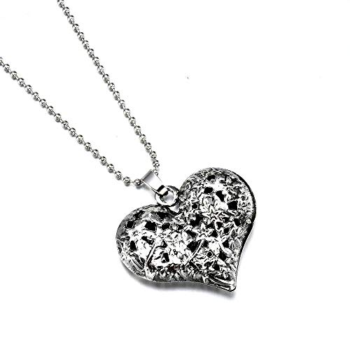 ERAWAN Vintage Womens Carved Silver Tone Heart Flower Long Chain Pendant Necklace Gift EW sakcharn