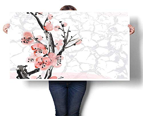 (Mangooly Canvas Wall Art Japanese Cherry Blossom Sakura Tree Branch Soft Pastel Watercolor Print Wall Painting Prints on Canvas Wall Decoration Canvas 24