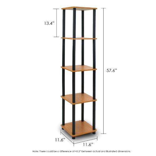 Furinno 99132LC/BK Turn-N-Tube 5-Tier Corner Square Rack Display Shelf, Light Cherry/Black by Furinno