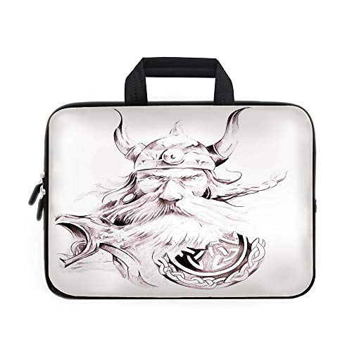 7c6667f03528 Tattoo Decor Laptop Carrying Bag Sleeve,Neoprene Sleeve Case/Head of Wolf  the Fierce Warrior Big Dog of the Forest Winter Themed Image/for Apple ...