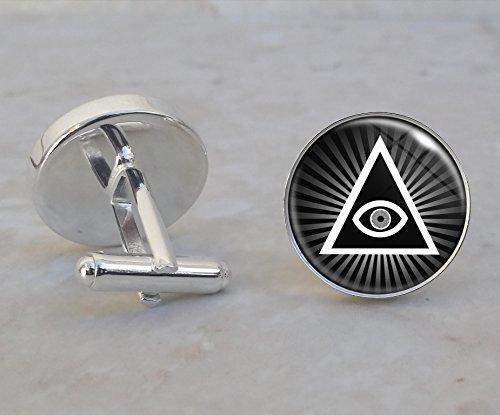 Illuminati All Seeing Eye Pyramid Sterling Silver Cufflinks