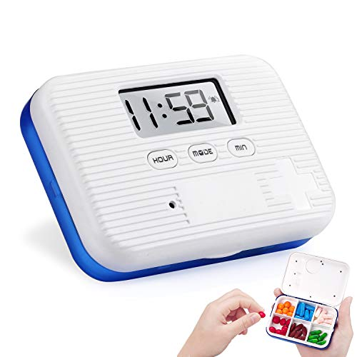 (Medication Organizer Pill Reminder Alarm, RIZON 6 Compartments Locking Pill Case Box with Medicine Clock Alarm Reminders for Vitamin/Fish Oil/Supplements/Pills Container,Blue )