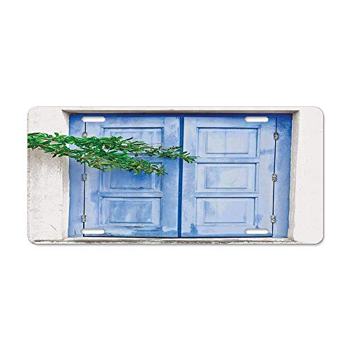 Get Noy Mediterranean Window Shutters Covered by Tree Print Heritage Greek Island Photo License Plate Cover Aluminum Car Tag Cover License Tag Holder License Plate Frame for US Vehicles Standard