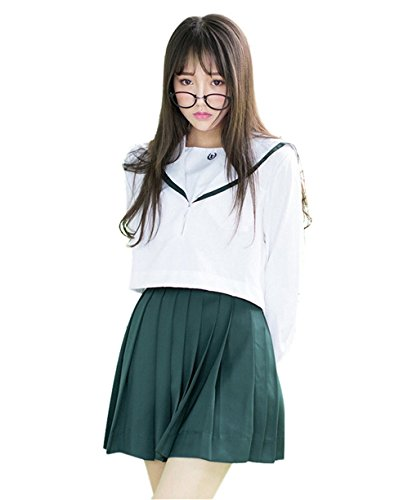 Cosplay Costumes For Rent For Kids (Minlovely Girl's Navy Sailor Suit Cosplay Costume School Students Uniforms GreenLarge)