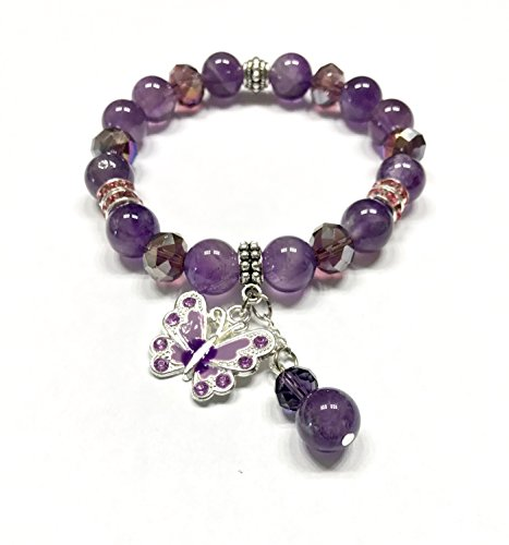 Amethyst Balance - Natural Amethyst Bracelet. 10 mm Beads. Butterfly and Beaded Charm. Large 10 mm Crystals. Brow or Third Eye, and Crown Chakra Balance. Protection Stone
