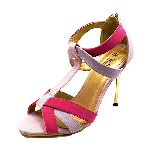 SendIt4Me Ladies Suedette Sandalias de Tacón Alto con Tacón de Metal Dorado Color de rosa