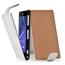 Cadorabo – Flip Style Case for Sony Xperia Z2 – Shell Etui Cover Protection Skin in SNOW-WHITE