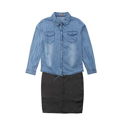Family Matching Clothes, Family Matching Women Clothes Set Kid Denim Blouse Top Pocket Denim Coat Skirt Girl -