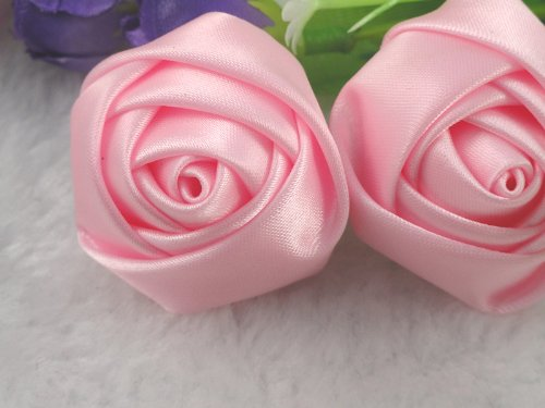 - YAKA 20pcs Handmade stereo Fabric Rose Flowers for DIY Headdress Flowers Headbands Clips,Rose Wedding Decor Hair Bow Appliques Craft Sewing Accessories (Pink)