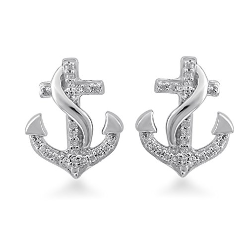 Jewelili Sterling Silver Diamond Accented Anchor Earrings