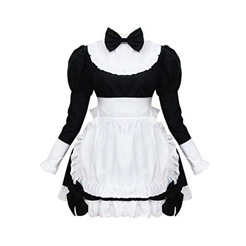 Cos store Womens Black Classic French Maid Lolita Dress Halloween Party Cosplay -