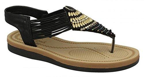 Ladies Womens New Extra Comfort Flat Slingback Toe Post Sandals Shoes Size 3-8 Black pOBEwohVKM