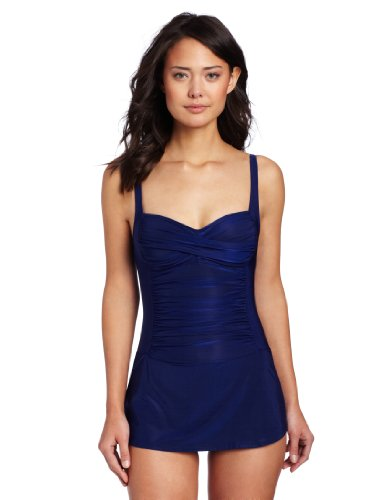 La Blanca Women's Shirr And Now OTS Skirted Sweetheart Cup One Piece, Midnight, 8