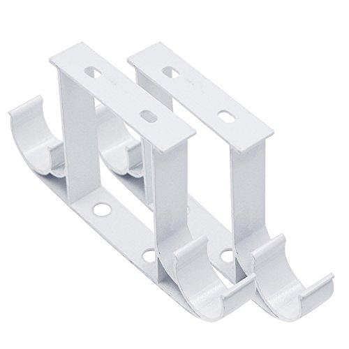 2 Pcs Roman Pole Curtain Rod Drapery Pole Ceiling Mounted Double Aluminum Alloy Bracket (Double Ceiling Bracket)