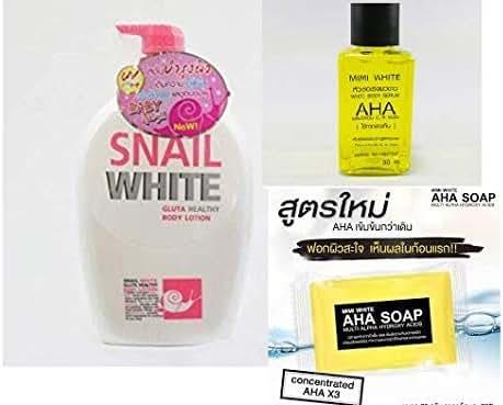 Set super over white Snail white body glutathione 800ml.(Bigsize) + MIMI AHA concentrate serum 30 ml.+ AHA Soap, Whitening Skin, Multivitamin Complex, Multi Alpha Formula 80g.