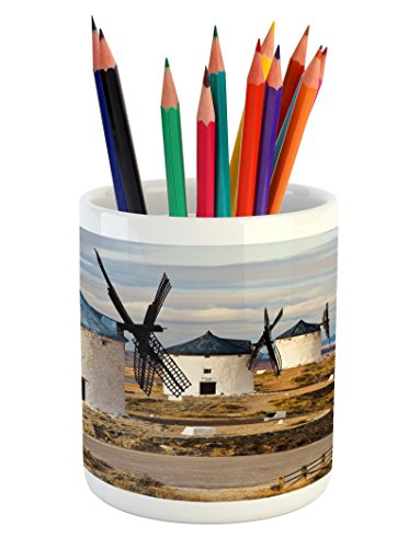 Ambesonne Windmill Pencil Pen Holder, Medieval Spain Windmills in Consuegra Old Historical Landmark, Printed Ceramic Pencil Pen Holder for Desk Office Accessory, Blue White Pale Brown by Ambesonne
