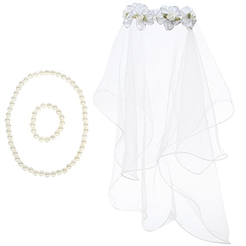 kilofly Girls First Communion Flower Headband Veil + Necklace Bracelet Value Set ()