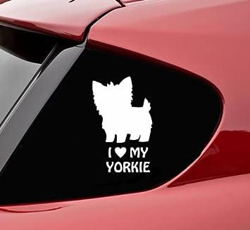 Amazoncom I Love My Yorkie Vinyl Decal Bumper Sticker Automotive - Vinyl bumper stickers