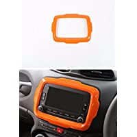 FMtoppeak Orange ABS Ring Outlet Dash Board Car DVD Player GPS Frame Trim Cover For 2014 UP Jeep Renegade